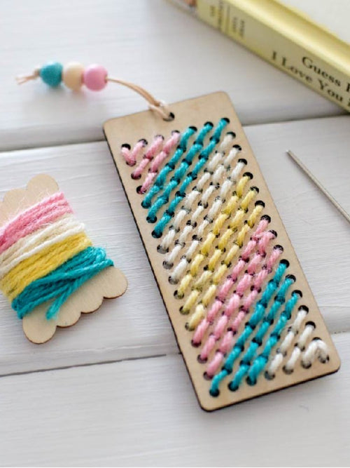 Handmade wooden bookmark with organic wool
