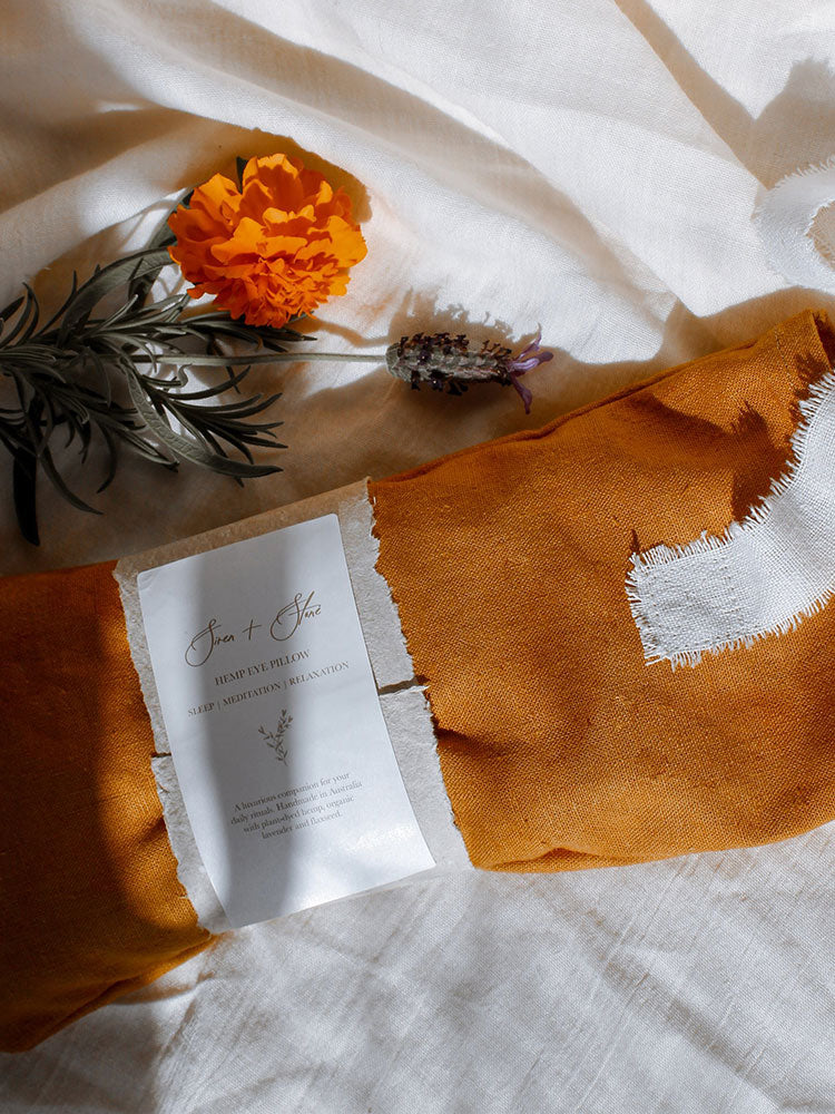 Marigold hemp eye pillow by Siren and Stone