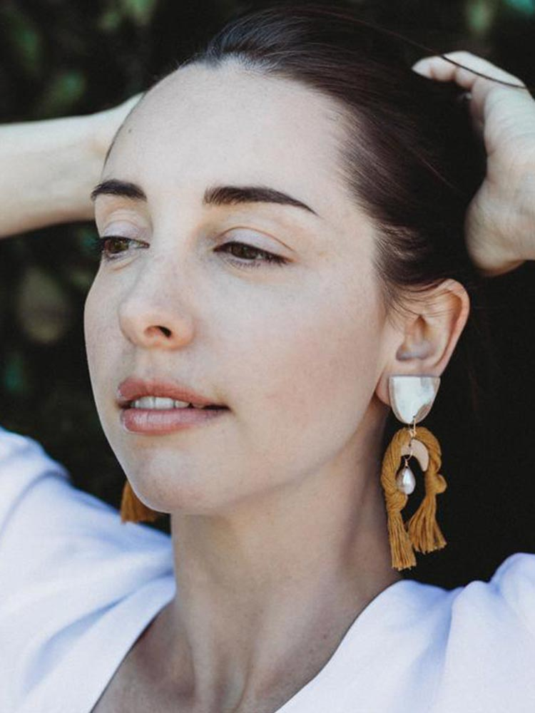 White and pink, pearl and rope earrings by Siren and Stone