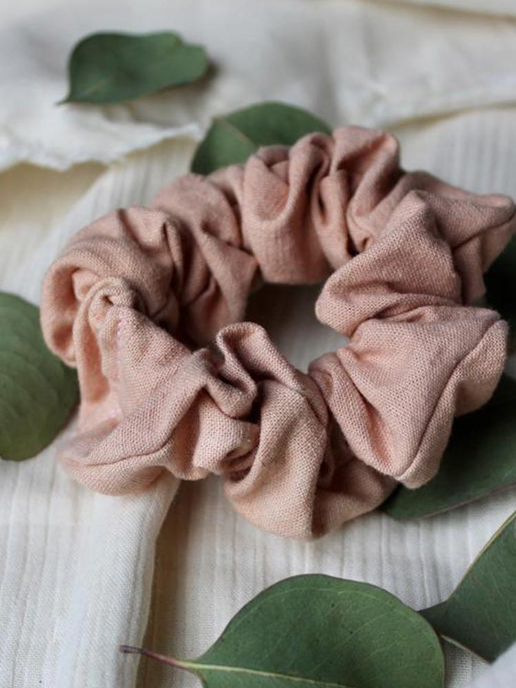 Siren and Stone thick cotton scrunchie in a dusty rose pink colour