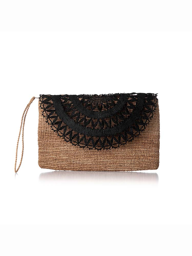 Natural weave clutch with hand strap and foldover doily detail in black