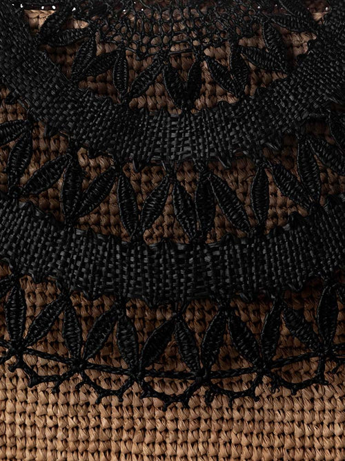 Woven black foldover detail on the Tanora Boka Black Tea clutch