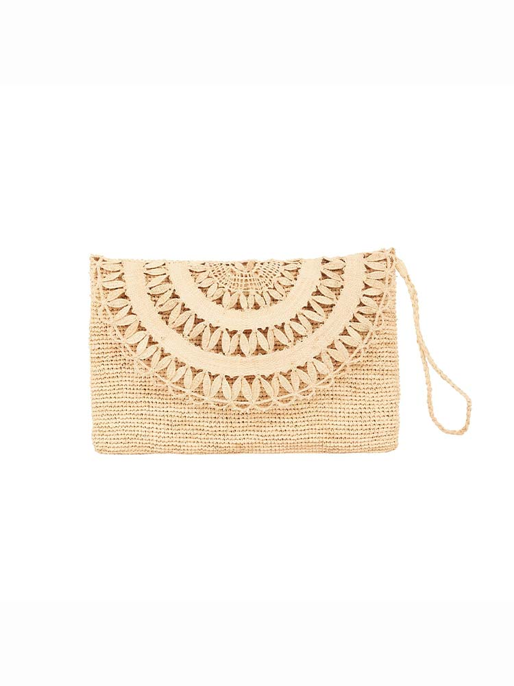 Natural weave clutch bag with hand strap and woven flap detail