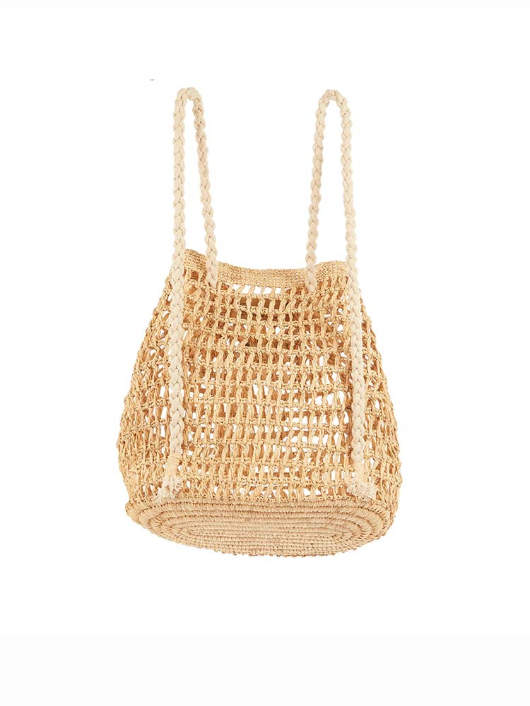 Natural weave bucket backpack with rope straps