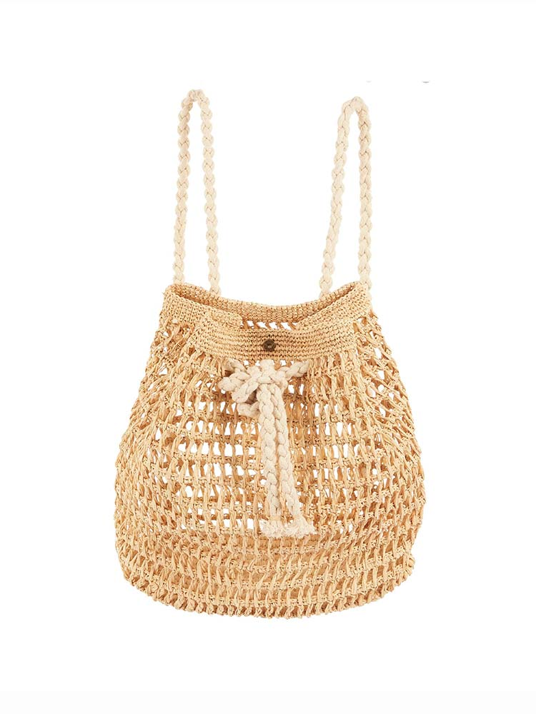 Natural raffia bucket backpack with rope straps