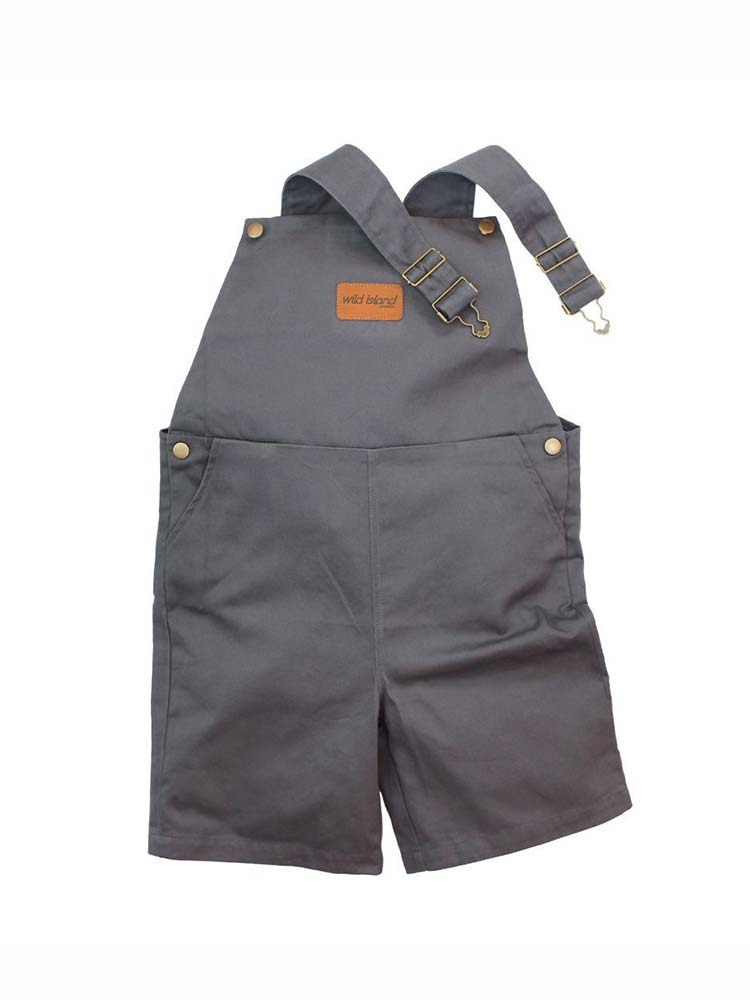 Ash blue kids overalls with brass hardware and clip-on shoulder straps