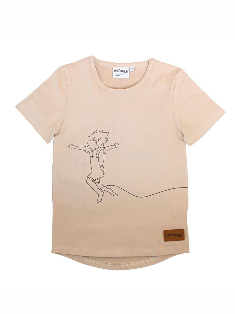 Oat coloured kids and baby t-shirt with black line drawing of a child skipping