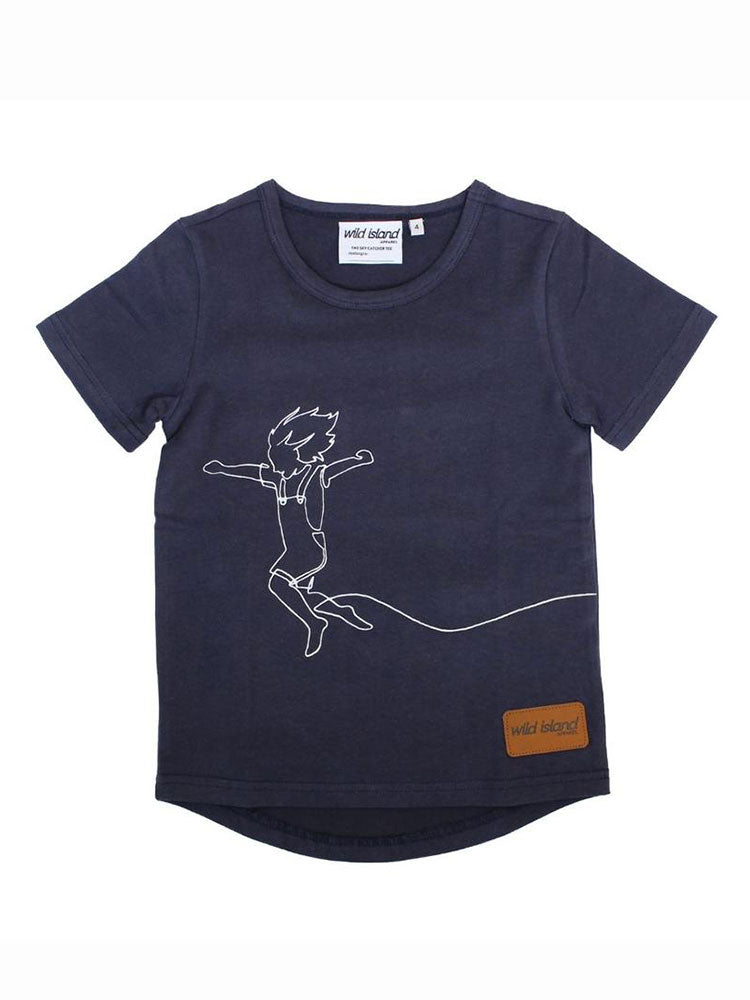 Dark blue kids t-shirt with white line drawing  of a kid jumping