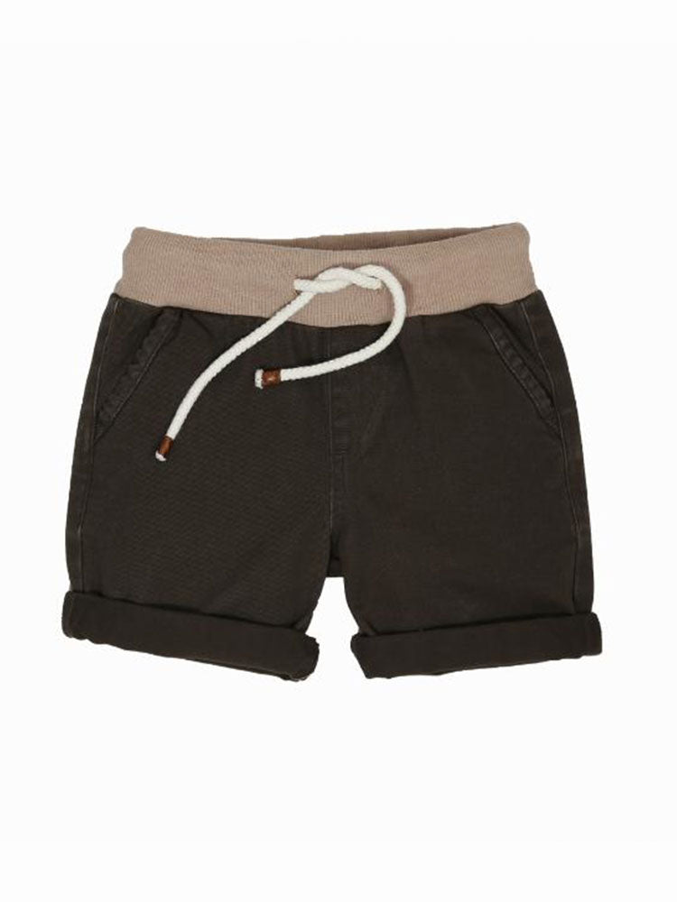 Brown kids shorts with oat coloured waistband and rope drawstring tie