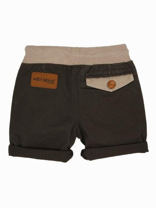 Wild Island Sandshaker Shorts with brown leather logo patch on bum and rear pocket