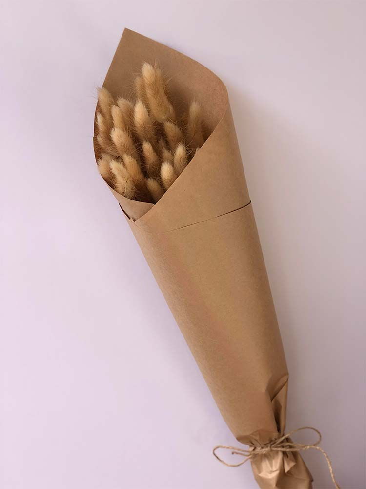 Half bunch of dried bunny tail flowers wrapped in brown paper