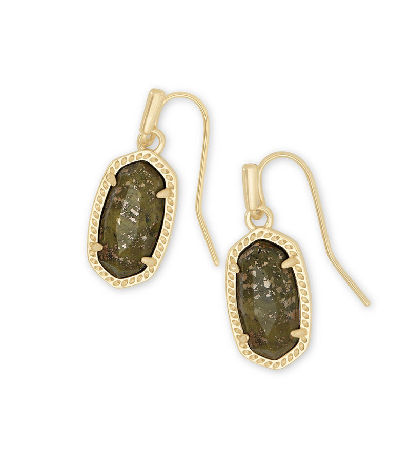 KENDRA SCOTT EARRING LEE GOLD OLIVE EPIDOTE