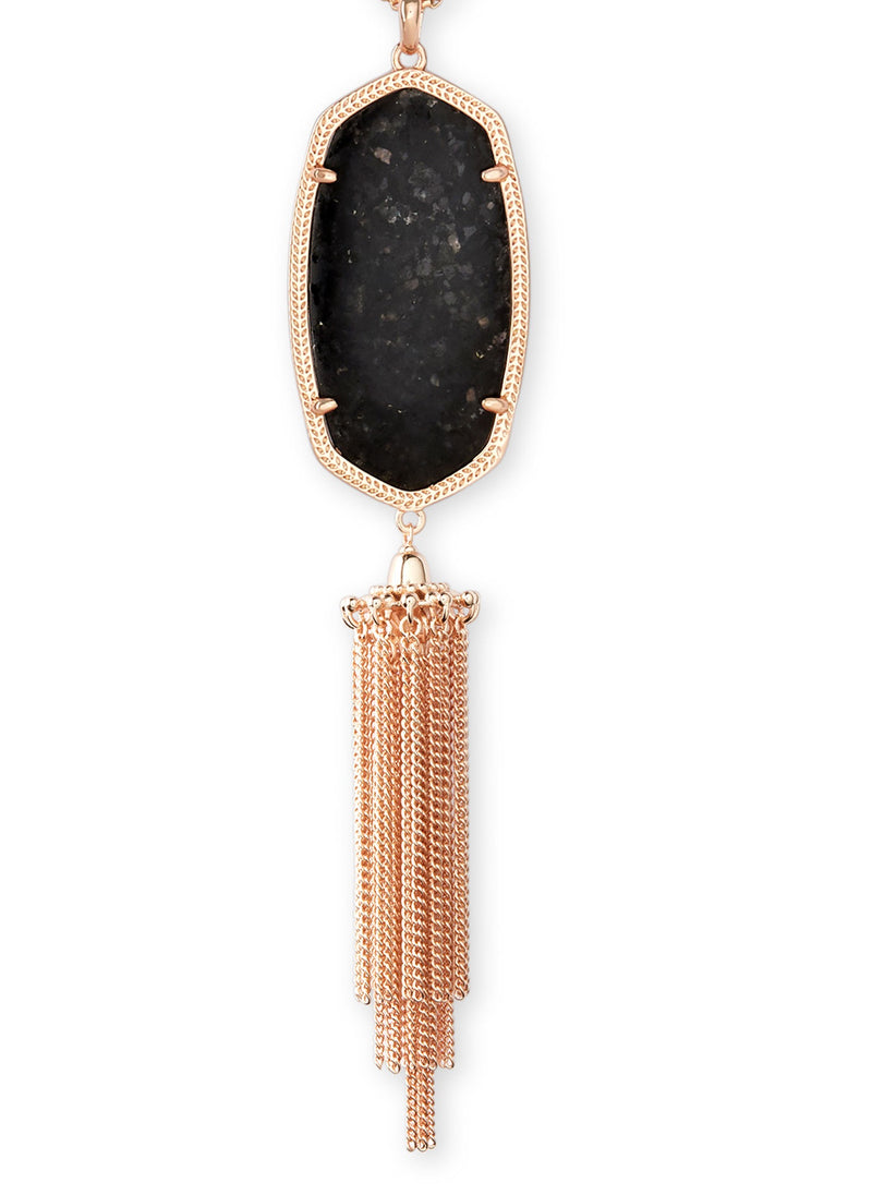 KENDRA SCOTT NECKLACE RAYNE ROSEGOLD BLACK GRANITE