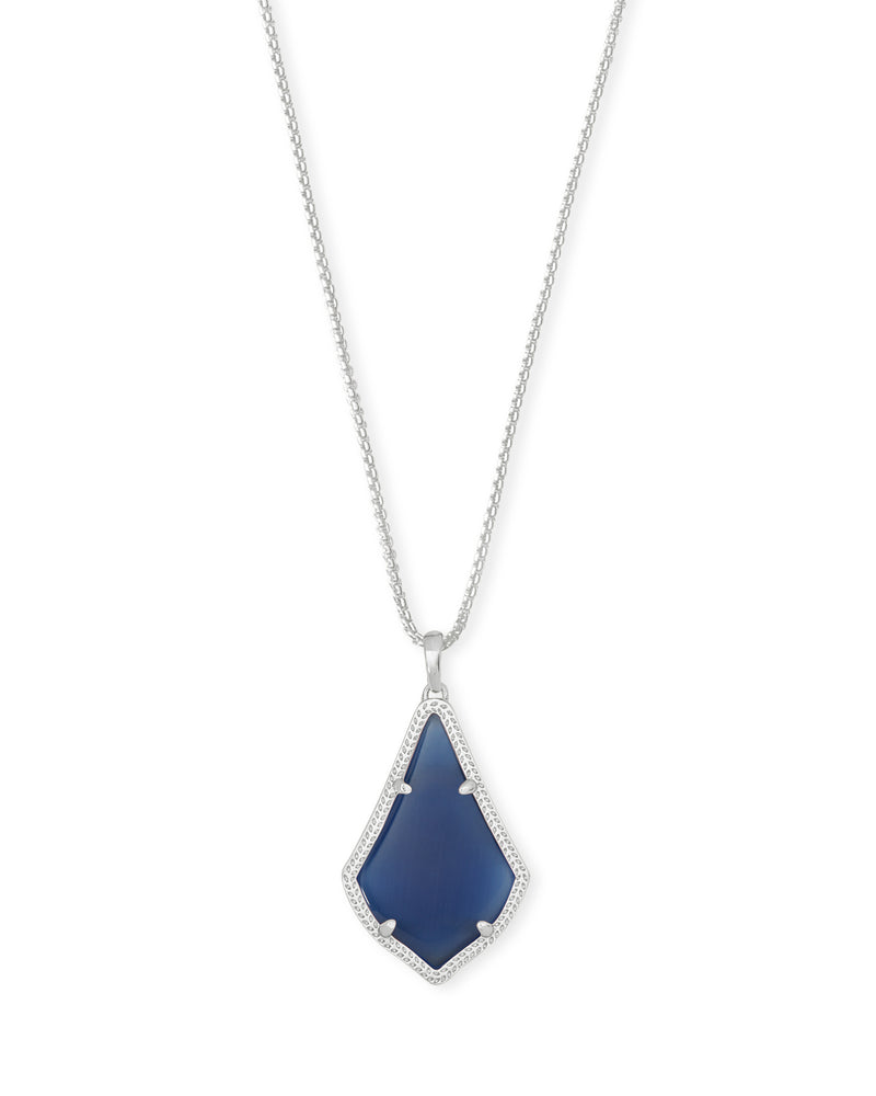 KENDRA SCOTT NECKLACE ALEX RHODIUM NAVY CATS EYE