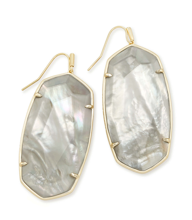 KENDRA SCOTT EARRINGS DANIELLE FACETED GOLD GRAY ILLUSION