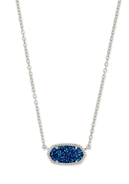 KENDRA SCOTT NECKLACE ELISA RHODIUM INDIGO BLUE DRUSY