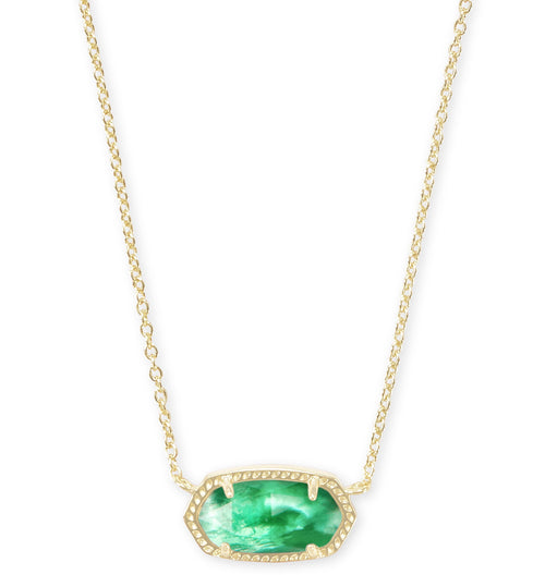 KENDRA SCOTT NECKLACE ELISA GOLD JADE GREEN ILLUSION