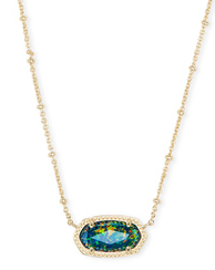 KENDRA SCOTT NECKLACE ELISA GOLD SATELLITE MIDNIGHT OPAL