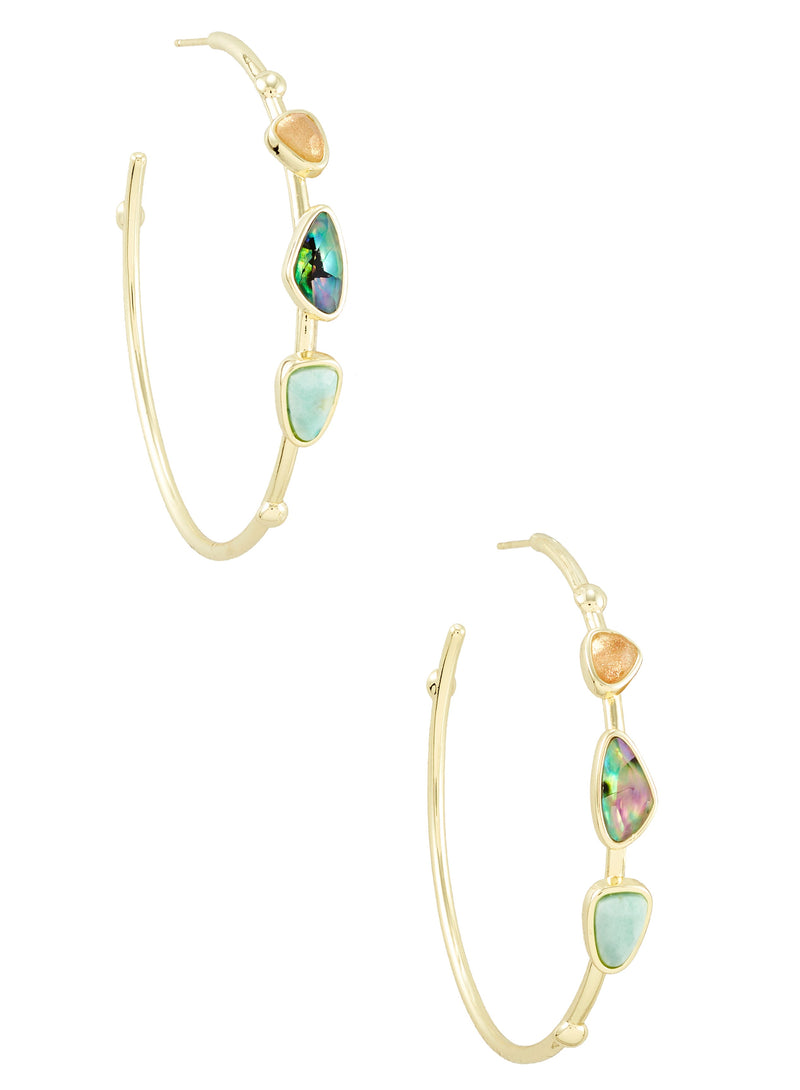 KENDRA SCOTT EAR IVY HOOP GOLD SEA GREEN MIX