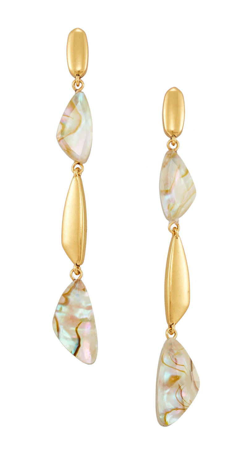 KENDRA SCOTT EAR IVY LINEAR VIN GOLD WHITE ABALONE