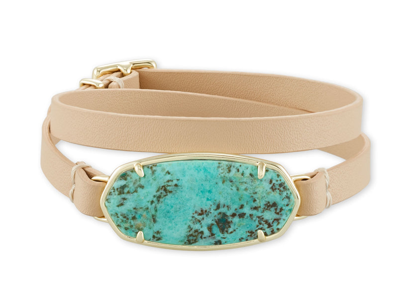 KENDRA SCOTT BRACELET ELLE LEATHER WRAP GOLD SEA GREEN STONE