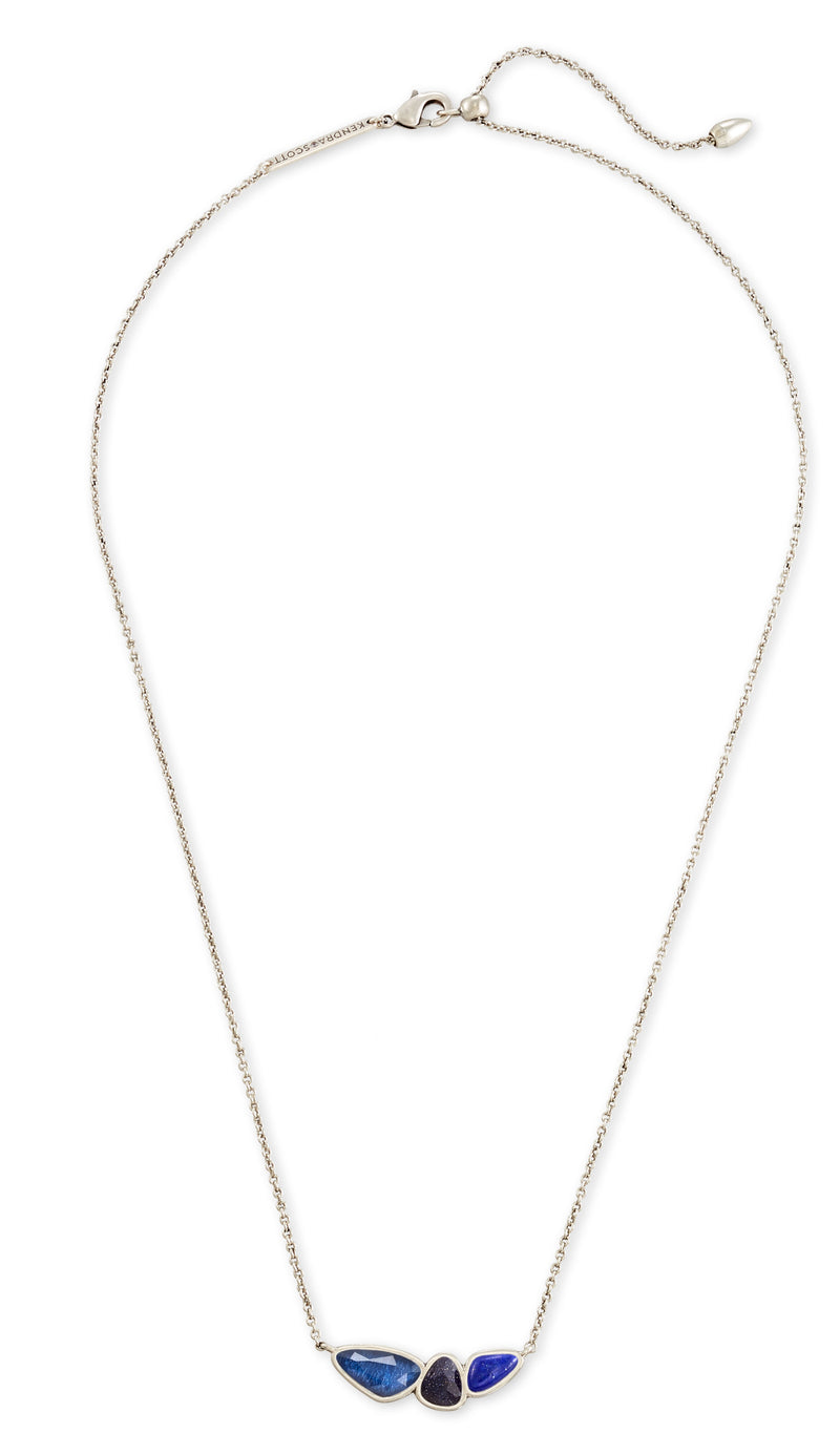 KENDRA SCOTT NECKLACE IVY SHORT PENDANT VIN SILVER NAVY MIX