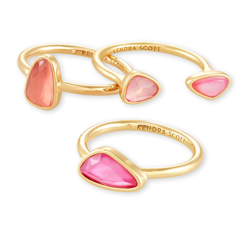 KENDRA SCOTT RING IVY RING SET GOLD DEEP BLUSH MIX SIZE 7