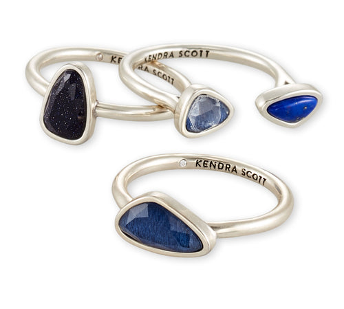 KENDRA SCOTT RING IVY RING SET VIN SILVER NAVY MIX SIZE 7