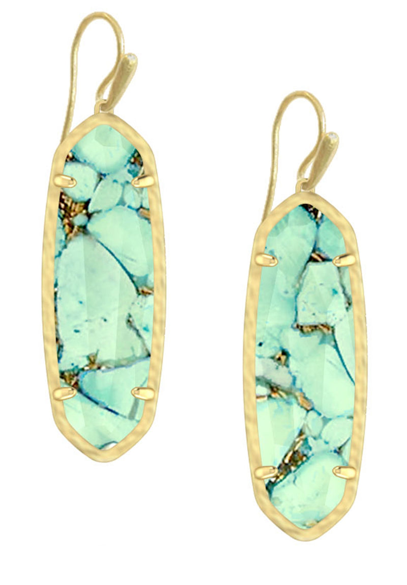 KENDRA SCOTT EAR LAYLA DROP GOLD BRONZE VEINED TEAL