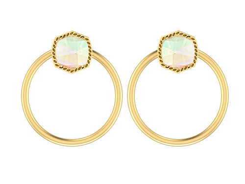KENDRA SCOTT EAR DAVIE OPEN FRAME GOLD DICHROIC GLASS