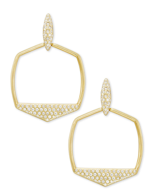 KENDRA SCOTT EAR SELENA GOLD METAL WHITE CZ