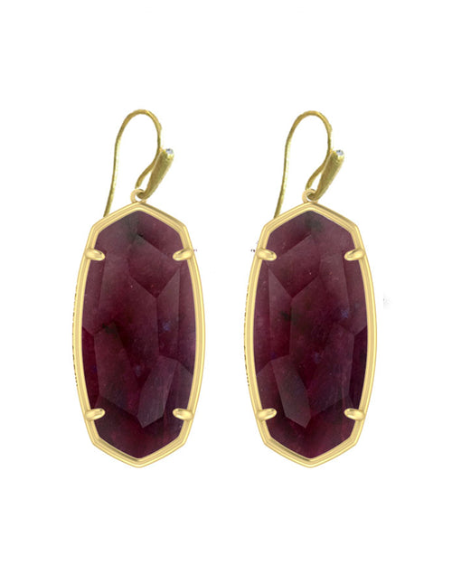KENDRA SCOTT EAR FACETED ELLE GOLD RASPBERRY LABRADORITE