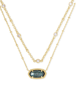 KENDRA SCOTT NECKLACE ELISA MULTI STRAND GOLD GREEN APATITE