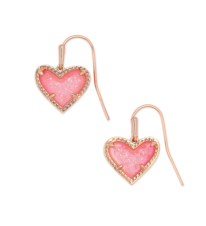 KENDRA SCOTT EAR ARI DROP ROSE GOLD PINK DRUSY