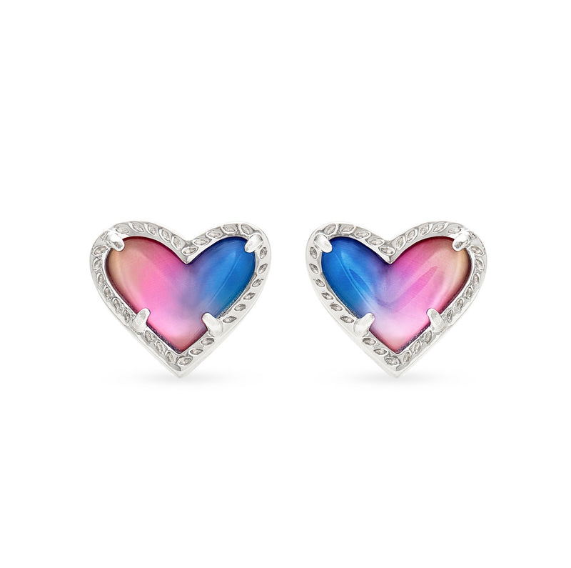 KENDRA SCOTT EAR ARI HEART STUD WATERCOLOR ILLUSION RHODIUM