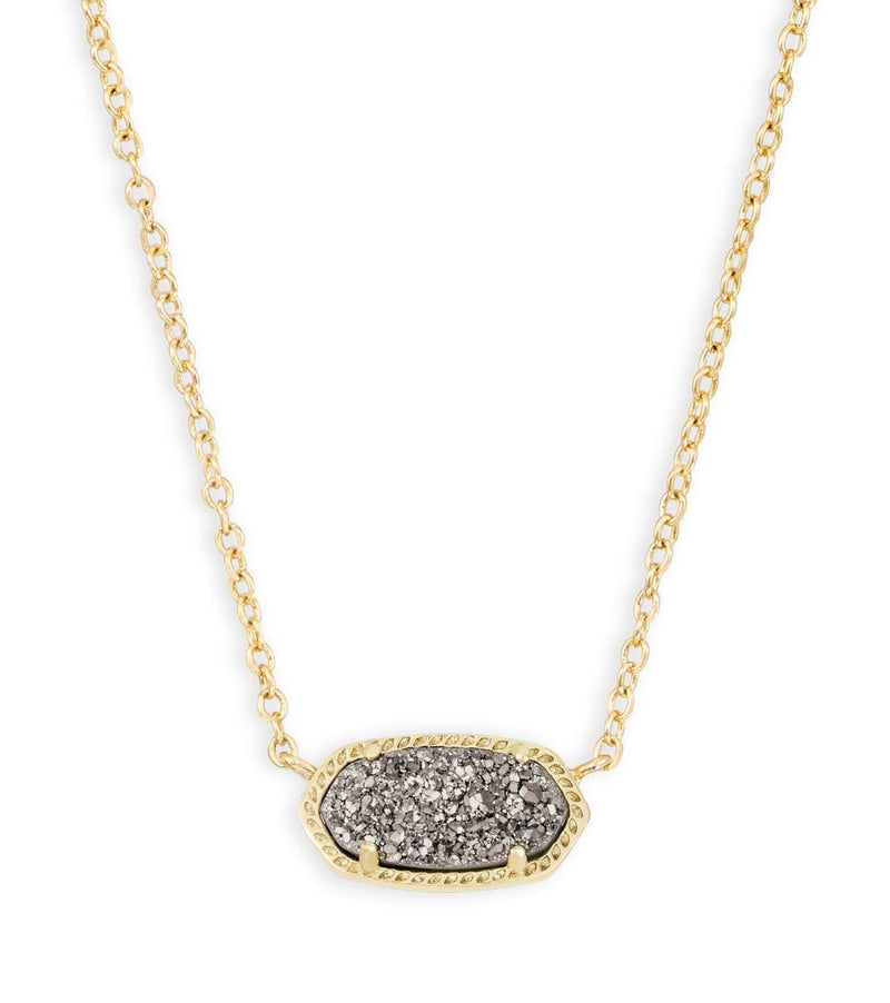 KENDRA SCOTT NECKLACE ELISA GOLD DRUSY PLATINUM