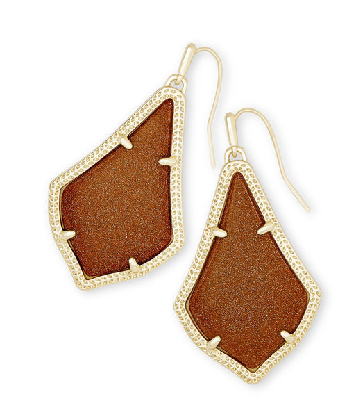 KENDRA SCOTT EARRINGS ALEX GOLD ORANGE GOLDSTONE
