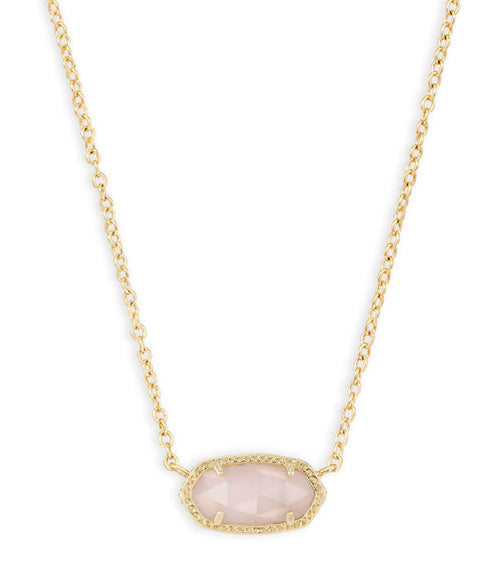 KENDRA SCOTT NECKLACE ELISA GOLD ROSE QUARTZ