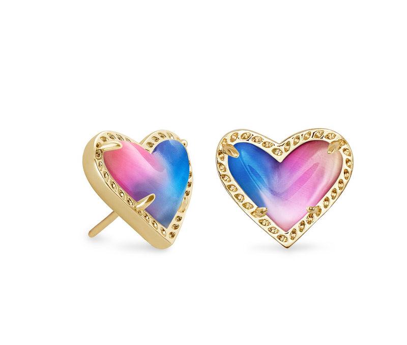 KENDRA SCOTT EAR ARI HEART STUD WATERCOLOR ILLUSION GOLD