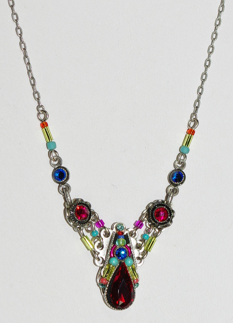 "FIREFLY NECKLACE CAMELIA SIMPLE MC: multi color stones, center charm = 3/4"" long,  silver 17"" adjustable chain"