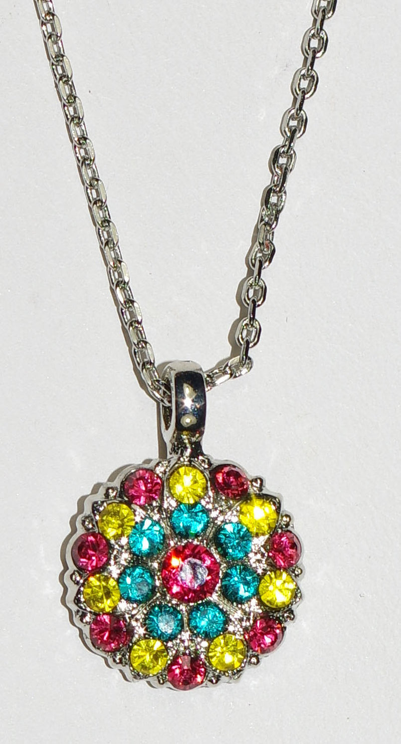 "MARIANA ANGEL PENDANT POPPY: salmon, teal, yellow stones in rodium setting, 18"" adjustable chain"