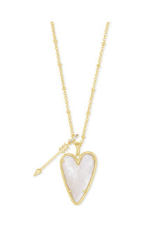 KENDRA SCOTT NECKLACE ANSLEY LONG PENDANT GOLD IVORY MOTHER OF PEARL