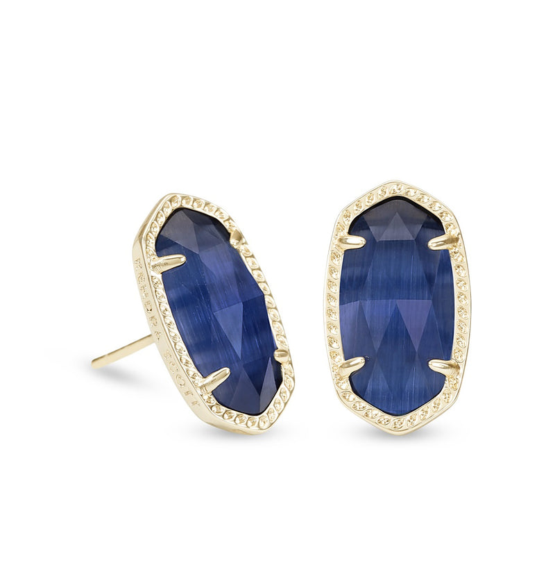 KENDRA SCOTT EARRINGS ELLIE GOLD NAVY CATS EYE