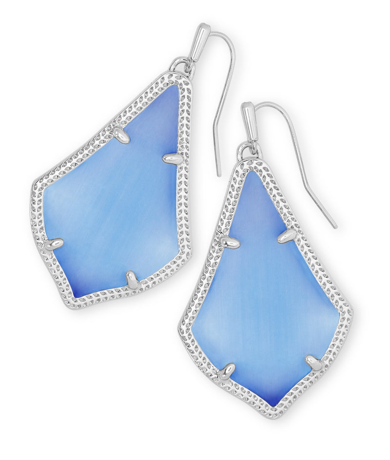 KENDRA SCOTT EARRINGS ALEX RHODIUM PERIWINKLE CATS EYE
