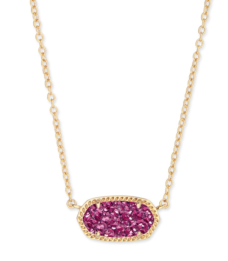 KENDRA SCOTT NECKLACE ELISA GOLD DP FUSCHIA DRUSY