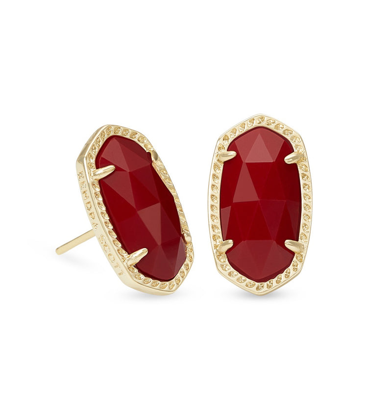 KENDRA SCOTT EARRINGS ELLIE GOLD DARK RED