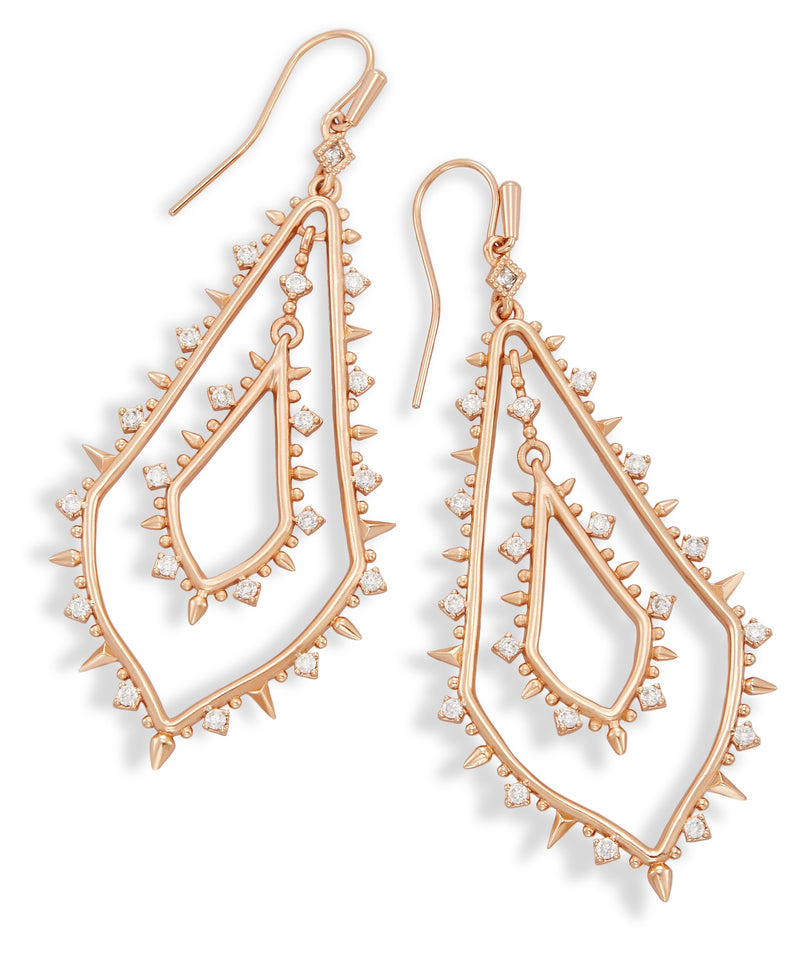 KENDRA SCOTT EARRINGS ALICE ROSEGOLD METAL WHITE CZ