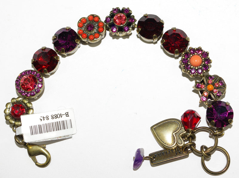MARIANA BRACELET RED: red, orange, purple stones in antique gold setting