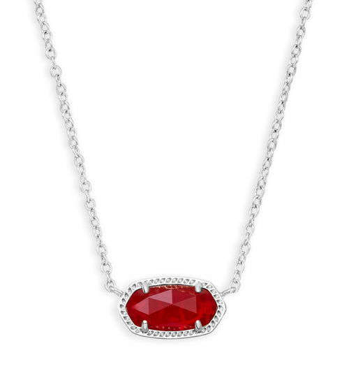 KENDRA SCOTT NECKLACE ELISA RHODIUM RUBY RED
