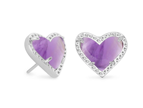 KENDRA SCOTT EAR ARI HEART STUD RHODIUM AMETHYST